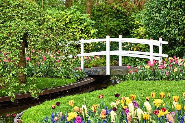 bílý most na zahradě