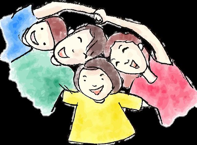 Ilustrace-smějící se děti ležící v kruhu na zádech